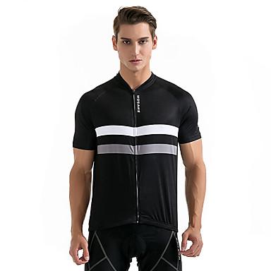 WOSAWE Manga Curta Camisa para Ciclismo - Preto Moto Camisa / Roupas Para Esporte, Respirável, Redutor de Suor, Verão, Poliéster