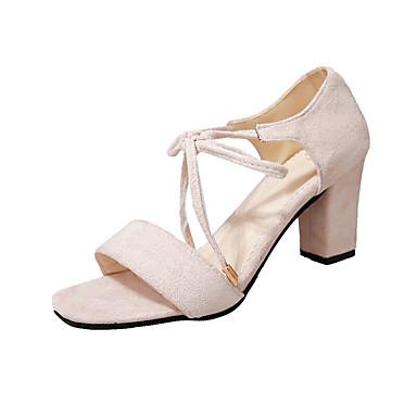 Damen Schuhe Wildleder Frühling Sommer Komfort Gladiator Club-Schuhe Sandalen Blockabsatz Quadratischer Zeh Offene Spitze Schnürsenkel für