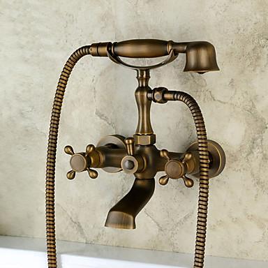 Torneira de Banheira - Clássica Regional Tradicional Cobre Envelhecido Montagem de Parede Válvula Cerâmica