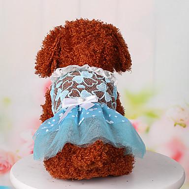 Cachorro Vestidos Roupas para Cães Rendas Azul Rosa claro Algodão Ocasiões Especiais Para animais de estimação Mulheres Fofo Casual
