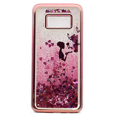 Capinha Para Samsung Galaxy S8 Plus S8 Galvanizado Liquido Flutuante Estampada Capa traseira Borboleta Mulher Sensual Glitter Brilhante