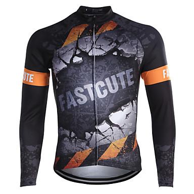 Fastcute Hombre / Mujer Manga Larga Maillot de Ciclismo Bicicleta Camiseta / Maillot, Secado rápido, Transpirable, Reductor del Sudor