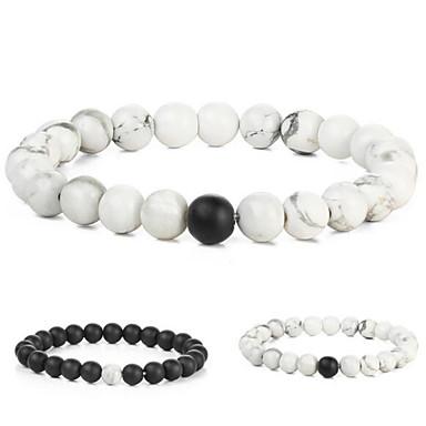 Ágata Pulseiras com Pendentes - Fashion Pulseiras Branco / Preto Para Presente