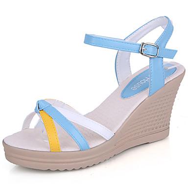 여성 샌들 컴포트 여름 PU 웻지 굽 퓨샤 밝은 블루 10cm- 12cm