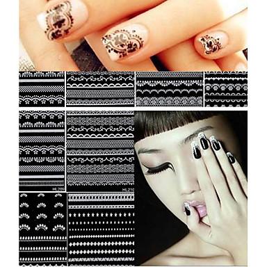 30 시트 3 차원 레이스 네일 아트 스티커 데칼 매니큐어 장식 손톱 액세서리 흰색 검은 DIY 도구 아름다움 손톱