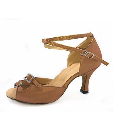 baratos Shall We® Sapatos de Dança-Mulheres Sapatos de Dança Cetim Sapatos de Dança Latina Cristal / Strass Salto Salto Personalizado Personalizável Preto / Camel / Marron / Espetáculo / Couro