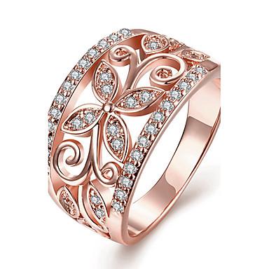 Χαμηλού Κόστους Μοδάτο Δαχτυλίδι-Γυναικεία Κρυστάλλινο Δαχτυλίδι Δαχτυλίδι αρραβώνων Χαλκός Επιχρυσωμένο Με Επίστρωση Ροζ Χρυσού Λουλούδι κυρίες Εξατομικευόμενο Μοντέρνα Euramerican Μοδάτο Δαχτυλίδι Κοσμήματα