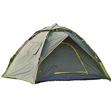 3-4 사람 텐트 캐빈 텐트 더블 베이스 캠핑 텐트 원 룸 텐트 팝업 수분 방지 방수 비 방지 통기성 용 하이킹 캠핑 여행 야외 1500-2000 mm 유리섬유 CM