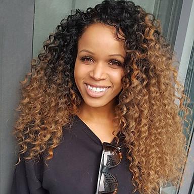 Cabelo Remy Frente de Malha Peruca Cabelo Brasileiro Kinky Curly Peruca Com Cabelo Baby 150% Cabelo Ombre / Riscas Naturais / Peruca Afro Americanas Mulheres Curto / Médio / Longo Perucas de Cabelo