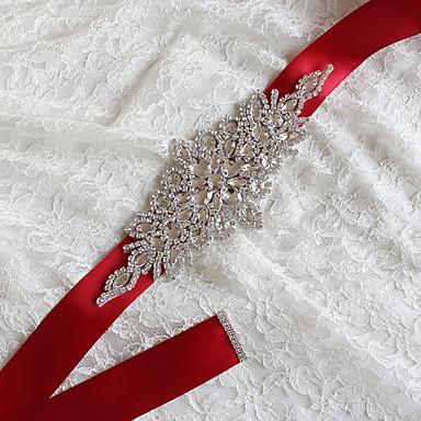 abordables Foulards de Soirée-Satin / Tulle Taffetas Satin Mariage Fête / Soirée Ceinture With Strass Appliques Femme Ceintures