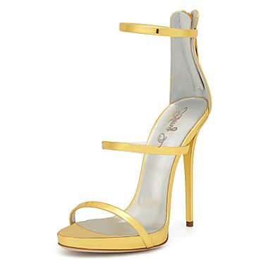 Mulheres Sapatos Couro Ecológico Primavera Verão Gladiador Sapatos clube Sandálias Salto Agulha Ponta Redonda Ziper para Casamento Festas