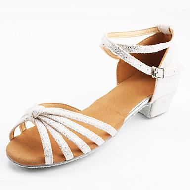 baratos Sapatos de Samba-Mulheres Courino Sapatos de Dança Latina Têni Salto Baixo Personalizável Preto e Dourado / Preto e Prateado / Rosa claro / Interior