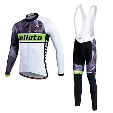 Miloto 男性用 女性用 長袖 サイクリングジャージー バイク 洋服セット, 3Dパッド, 保温, 速乾性, フリースライナーつき, 高通気性, モイスチャーコントロール, 反射性ストリップ ポリエステル フリース ライクラ シリコン