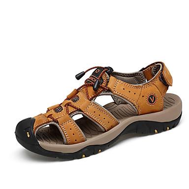 Homens sapatos Couro / Pele Verão / Outono Conforto Sandálias Castanho Claro / Castanho Escuro
