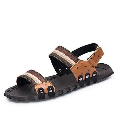 Miesten kengät Nahka Kesä Syksy Valopohjat Comfort Sandaalit varten Kausaliteetti Toimisto & ura ulko- Musta Ruskea