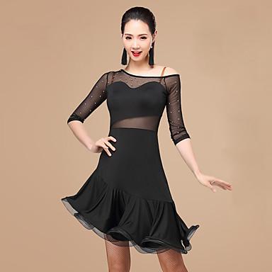 fa86e1e3 Skal vi latin danse kjoler kvinner polyester rhinestone 2 stykker dans drakt