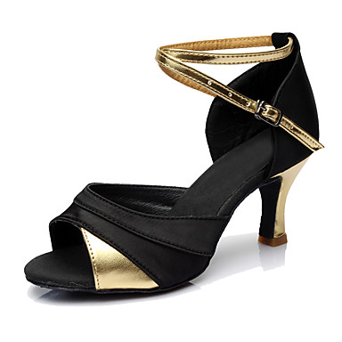 Women's Latin Shoes Leatherette Heel Customized Heel Customizable Dance Shoes Gold / Silver / Red / Indoor