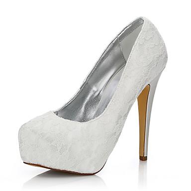 Mulheres Sapatos Seda Tule Inverno Outono Conforto Sapatos clube Sapatos De Casamento Salto Agulha Ponta Redonda Dedo Fechado para