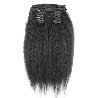cheap Human Hair Extensions-new brazilian 100 human hair clip ins afro kinky curly clip ins extensions in hair weaves natural black color 7 pcs set