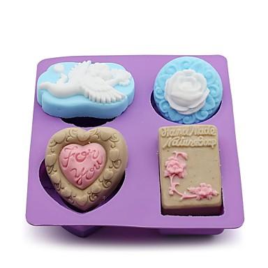 Molde Flor Coração em botão para Candy Gelo Chocolate Bolo Silicone Amiga-do-Ambiente Faça Você Mesmo Alta qualidade 3D Férias