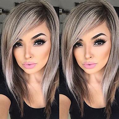 الاصطناعية الباروكات تمويج طبيعي شعر مستعار صناعي بني شعر مستعار للمرأة متوسط دون غطاء الرماد براون