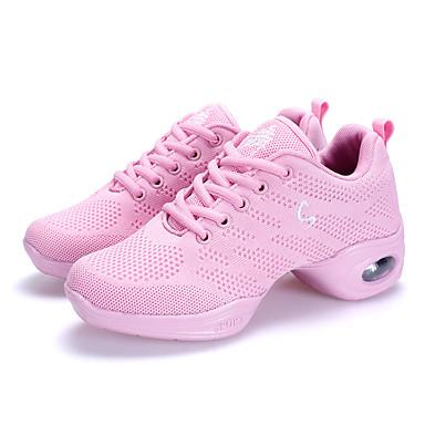 Mulheres Sapatos de Dança Moderna Courino Têni Sem Salto Não Personalizável Sapatos de Dança Branco / Preto / Rosa claro