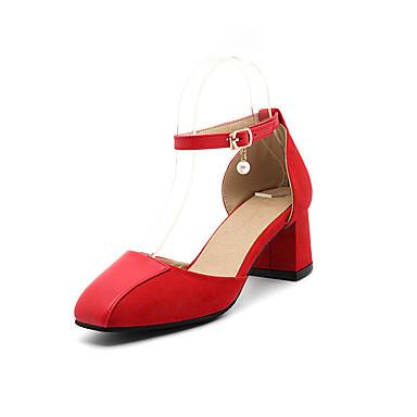 Mulheres Sapatos Flanelado / Couro Ecológico Verão / Outono Conforto / Tira no Tornozelo Sandálias Caminhada Salto Robusto Ponta quadrada