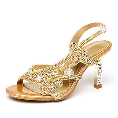 36cbdf5d6376 ... Heel Open Toe Rhinestone / Sparkling Glitter / Buckle Microfiber  Comfort / Novelty / Club Shoes Walking Shoes Summer / Fall Gold / Purple /  Wedding