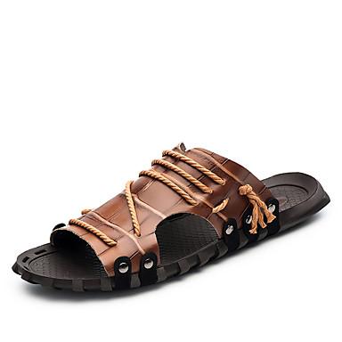 Homens Sapatos Confortáveis Pele Primavera / Verão / Outono Chinelos e flip-flops Tênis Anfíbio Branco / Preto / Castanho Escuro
