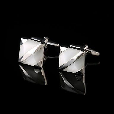 Forma Geométrica Prata Botões de Punho Cobre Fashion Caixas de presente e Bolsas Homens Jóias de fantasia