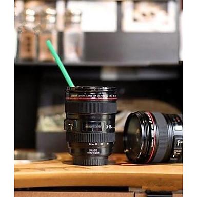 uso doméstico durável diy abs viagem caneca de café copo água café chá copo de lente de câmera com presente de tampa