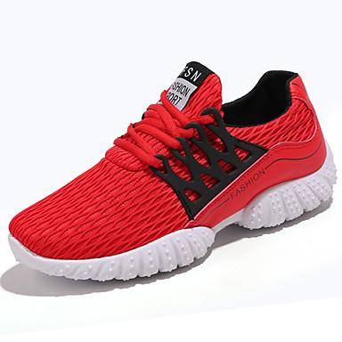 Homens sapatos Couro Ecológico Primavera Verão Conforto Tênis Caminhada para Casual Preto Cinzento Vermelho