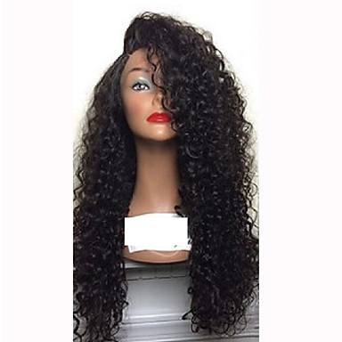 Human Hair Glueless Lace Front / Lace Front Wig Curly Wig 150% Natural Hairline / African American Wig / 100% Hand Tied Women's Medium Length / Long Human Hair Lace Wig