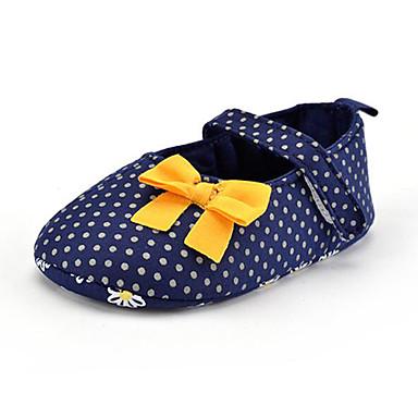 Crianças Para Meninas sapatos Tecido Verão Outono Primeiros Passos Mocassins e Slip-Ons Laço Poa para Casual Festas & Noite Social Azul