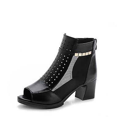 Damen Schuhe Leder Frühling Herbst Komfort High Heels Blockabsatz Für Normal Schwarz Burgund