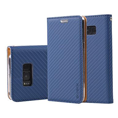 Capinha Para Samsung Galaxy S8 Plus S8 Porta-Cartão Carteira Com Suporte Flip Capa Proteção Completa Côr Sólida Rígida PU Leather para S8