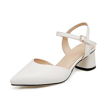 Mulheres Sapatos Courino Primavera Verão Conforto Sandálias Caminhada Salto Robusto Dedo Apontado Presilha para Social Branco Preto