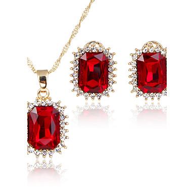 Mulheres Zircônia cúbica Zircônia Cubica Conjunto de jóias 1 Colar 1 Par de Brincos - Clássico Euramerican Fashion Estilo simples Quadrada