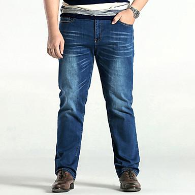 Pánské Jednoduchý Mikro elastické Rovné Džíny Kalhoty Volné Rovné Mid Rise Jednobarevné