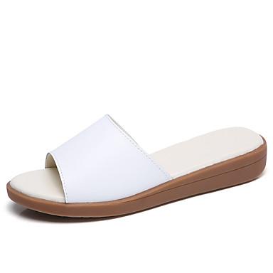 Damen Schuhe Leder Sommer Herbst Komfort Sandalen Flacher Absatz für Normal Weiß Blau