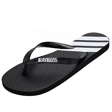 Pánské Sandály Pohodlné PU Léto Outdoor Plochá podrážka Bílá Černá Černobílá Plochý