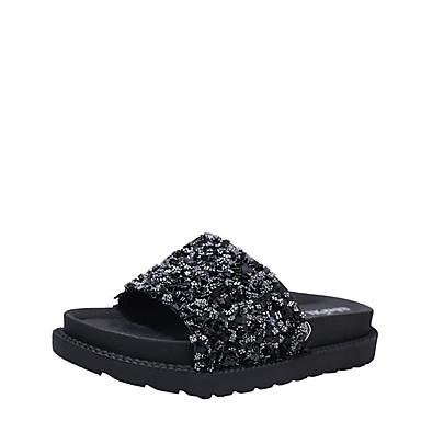 Naiset Sandaalit Comfort Kesä PU Tasapohja Musta Hopea 2-2,75in