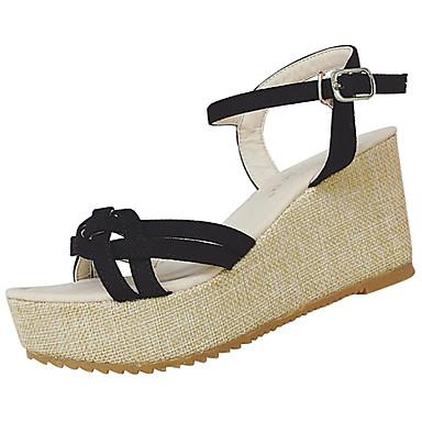 Mulheres Sapatos Linho Verão Sandálias Caminhada Salto de bloco Ponta Redonda Combinação para Branco Preto Bege Azul Cor Ecrã