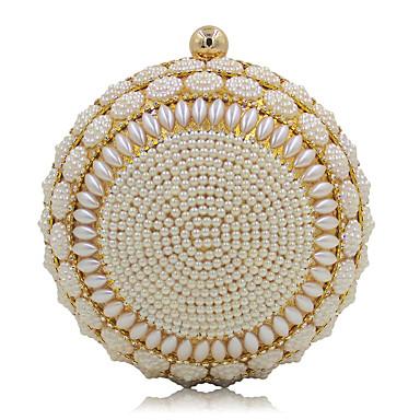 Damen Taschen Plastik Abendtasche Imitationsperle für Hochzeit Veranstaltung / Fest Normal Ganzjährig Gold Weiß