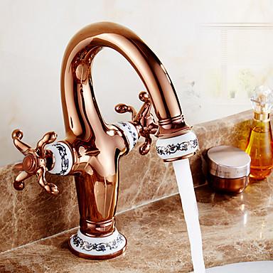 Modern Mittellage Keramisches Ventil Zwei Griffe Ein Loch Rotgold, Waschbecken Wasserhahn