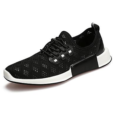 Homens sapatos Tule Primavera Outono Conforto Tênis Caminhada Cadarço para Atlético Preto Cinzento