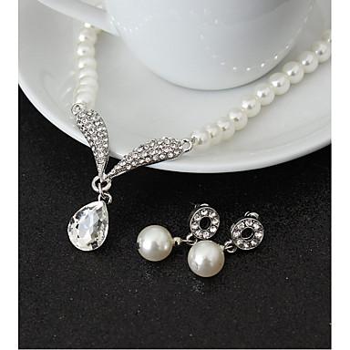Mulheres Gema Imitação de Pérola Conjunto de jóias 1 Colar 1 Par de Brincos - Pingente Caído Conjunto de Jóias Para Casamento Festa
