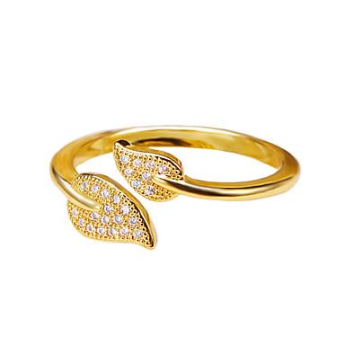 Mulheres Anel / cuff Anel - Cobre, Prata Chapeada, Chapeado Dourado Formato de Folha, Amigos Fashion Ajustável Dourado / Prata Para Casamento / Aniversário / Parabéns