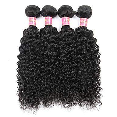 4 pacotes Cabelo Brasileiro Kinky Curly / Weave Curly Cabelo Humano Cabelo Humano Ondulado Tramas de cabelo humano Extensões de cabelo humano / Crespo Cacheado