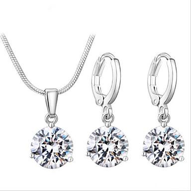 Mulheres Zircão Conjunto de jóias - Pingente Fashion Redonda Fio Único Branco Colar / Brincos Para Casamento Festa Ocasião Especial